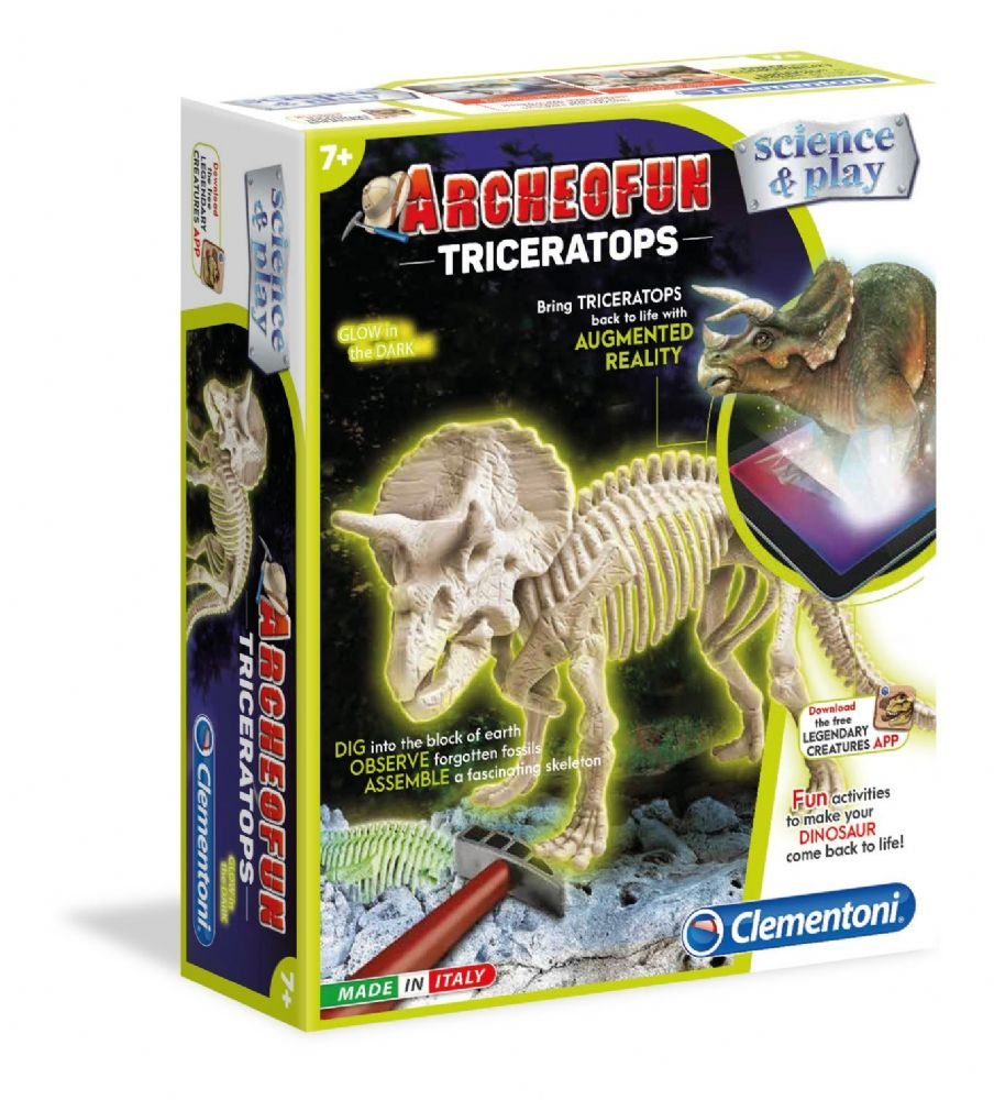 Scince & Play Archeofun Triceratops Glow in the Dark Kids Science Kit